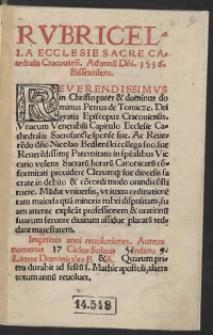 Rubricella Ecclesie Sacre Catedralis Cracovien[sis]. Ad annu[m] D[omi]ni 1536. Bissextilem