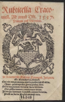 Rubricella Cracovien[sis] Ad annu[m] D[omi]ni 1537. Primum post Bisextilem
