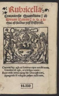 Rubricella Cracoviensis Quottidiana ad Annum Domini 1542. Qui est secudus post Bissextile[m]