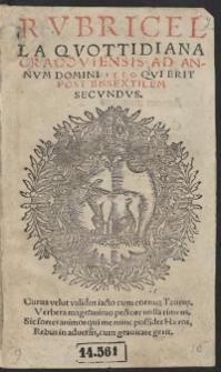 Rubricella Quottidiana Cracoviensis Ad Annum Domini 1550 Qui Erit Post Bissextilem Secundus