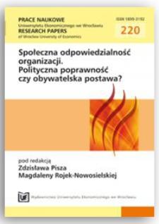 Społeczna odpowiedzialność w praktyce polskich przedsiębiorstw i kształceniu studentów. Prace Naukowe Uniwersytetu Ekonomicznego we Wrocławiu = Research Papers of Wrocław University of Economics, 2011, Nr 220, s. 166-176