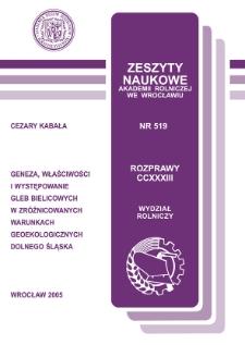 Geneza, właściwości i występowanie gleb bielicowych w zróżnicowanych warunkach geoekologicznych Dolnego Śląska