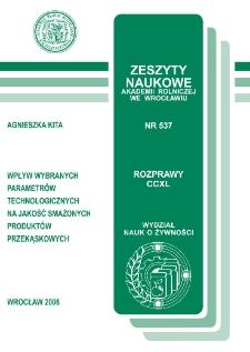 Wpływ wybranych parametrów technologicznych na jakość smażonych produktów przekąskowych