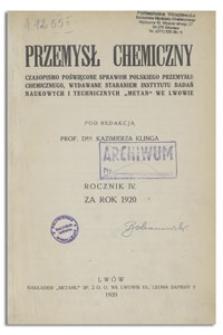 Przemysł Chemiczny : miesięcznik poświęcony sprawom polskiego przemysłu chemicznego. R. IV, marzec 1920, nr 3