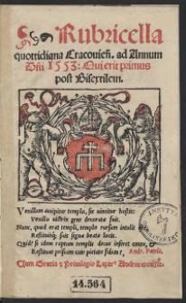 Rubricella quottidiana Cracovien[sis] ad Annum D[omi]ni 1553 Qui erit primus post Bisextilem