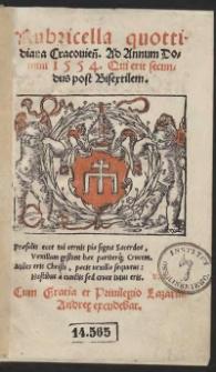 Rubricella quottidiana Cracovien[sis] Ad Annum Domini 1554 Qui erit secundus post Bisextilem