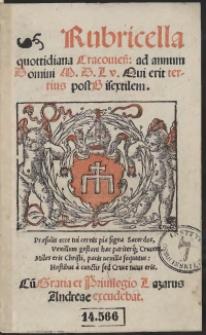 Rubricella quottidiana Cracovien[sis] ad annum Domini M.D.L.V. [1555] Qui erit tertius post Bisextilem