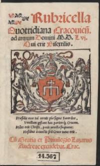 Rubricella Quottidiana Cracovien[sis] ad annum Domini M.D.L vi. [1556] Qui erit Bisextilis