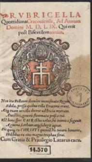 Rubricella Quottidiana Cracoviensis, Ad Annum Domini M. D. L IX. [1559] Qui erit post Bisextilem tertius