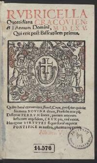 Rubricella Quottidiana Cracovien[sis] Ad Annum Domini, M.D.LXV. [1565] Qui erit post Bissextilem primus