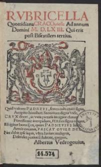 Rubricella Quottidiana Cracovien[sis] Ad annum Domini M.D.LXIII. [1563] Qui erit post Bisextilem tertius