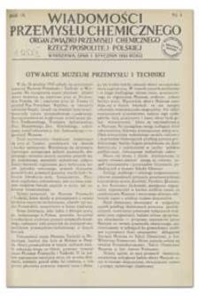 Wiadomości Przemysłu Chemicznego : Organ Związku Przemysłu Chemicznego Rzeczypospolitej Polskiej. R. IX, 1 sierpnia 1934, nr 15