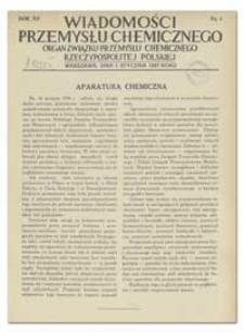 Wiadomości Przemysłu Chemicznego : Organ Związku Przemysłu Chemicznego Rzeczypospolitej Polskiej. R. XII, 1 lutego 1937, nr 3