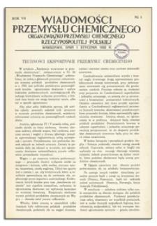 Wiadomości Przemysłu Chemicznego : Organ Związku Przemysłu Chemicznego Rzeczypospolitej Polskiej. R. VII, 15 grudnia 1932, nr 24