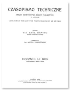 Czasopismo Techniczne. R. 51, 10 sierpnia 1933, Nr 15