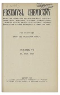 Przemysł Chemiczny : miesięcznik poświęcony sprawom polskiego przemysłu chemicznego. R. VII, sierpień 1923, nr 8