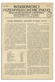 Wiadomości Przemysłu Chemicznego : Organ Związku Przemysłu Chemicznego Rzeczypospolitej Polskiej. R. XIV, 1 marca 1939, nr 5