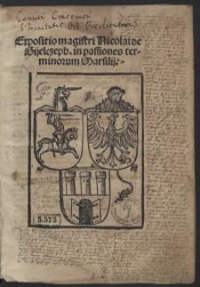 Expositio magistri Nicolai de Gijelczeph in passiones terminorum Marsilii