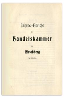 Jahresbericht der Handelskammer zu Hirschberg in Schlesien über das Jahr 1908