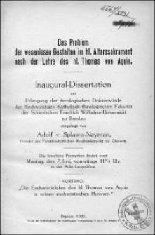 Das Problem der wesenlosen Gestalten im hl. Altarssakrament nach der Lehre des hl. Thomas von Aquin