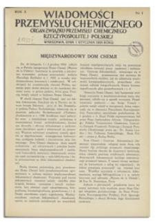 Wiadomości Przemysłu Chemicznego : Organ Związku Przemysłu Chemicznego Rzeczypospolitej Polskiej. R. X, 1 lutego 1935, nr 3