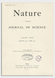 Nature : a Weekly Journal of Science. Volume 131, 1933 January 14, No. 3298