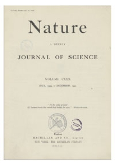 Nature : a Weekly Journal of Science. Volume 130, 1932 August 20, No. 3277