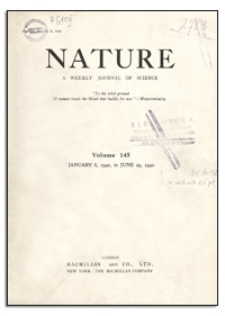 Nature : a Weekly Journal of Science. Volume 145, 1940 January 20, No. 3664