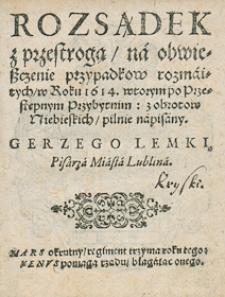 Kalendarz świąt rocznych na rok 1614 Gerzego Lemki