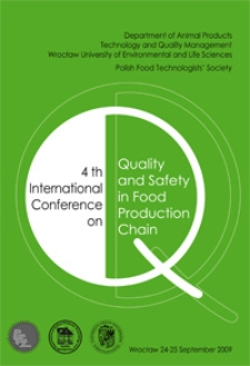 4th International Conference on Quality and Safety in Food Production Chain, Wrocław, 24-25 September 2009