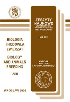 Zeszyty Naukowe Uniwersytetu Przyrodniczego we Wrocławiu. Biologia i Hodowla Zwierząt 58, 2009