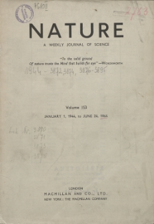 Nature : a Weekly Journal of Science. Volume 153, 1944 April 22, No. 3886