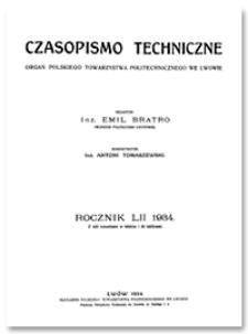 Czasopismo Techniczne. R. 52, 10 stycznia 1934, Nr 1