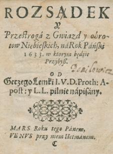 Kalendarz świąt rocznych na rok 1633 Grzego Lemki