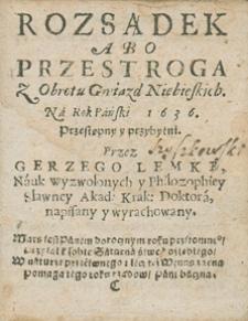 Kalendarz świąt rocznych na rok 1636 Grzego Lemki