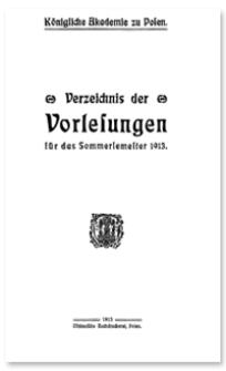 Verzeichnis der Vorlesungen für das Sommersemester 1913