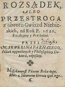 Kalendarz na rok 1636 Przez Seweryna Parnazego [...] napisany