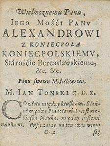 Kalendarz na rok 1643 Przez [...] Jana Tońskiego [...] wydany