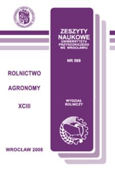 Zeszyty Naukowe Uniwersytetu Przyrodniczego we Wrocławiu. Rolnictwo 93, 2008
