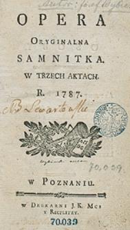 Opera Oryginalna Samnitka W Trzech Aktach