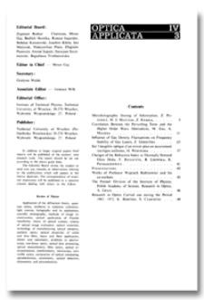 Contents [Optica Applicata, Vol. 4, 1974, nr 3]