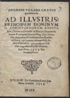 Andreae Volani Oratio gratulatoria Ad [...] Christophorum Radivilum [...]