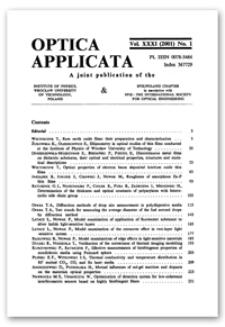 Contents [Optica Applicata, Vol. 31, 2001, nr 1]