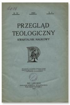 Przegląd Teologiczny : kwartalnik naukowy. Rocznik IV, 1923, Z. 3