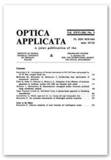 Contents [Optica Applicata, Vol. 26, 1996, nr 3]