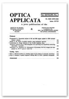 Contents [Optica Applicata, Vol. 27, 1997, nr 3]