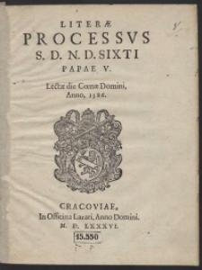 Lit[t]erae processus [...] Sixti Papae V Lectae die Coenae Domini, Anno, 1586