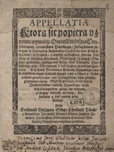 Appellatia, Którą się popiera y znowu wywodzi Obrona dołożna Confederatiey Kroliestwa Polskiego [...] Przez Erasmusa Glicznera