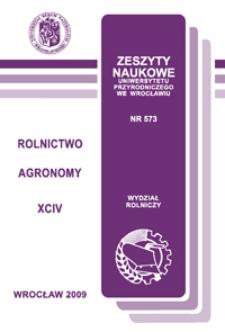 Zeszyty Naukowe Uniwersytetu Przyrodniczego we Wrocławiu. Rolnictwo 94, 2009
