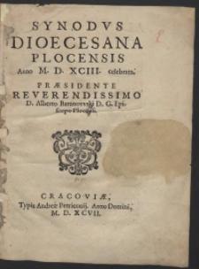 Synodus Dioecesana Plocensis Anno M.D.XCIII celebrata